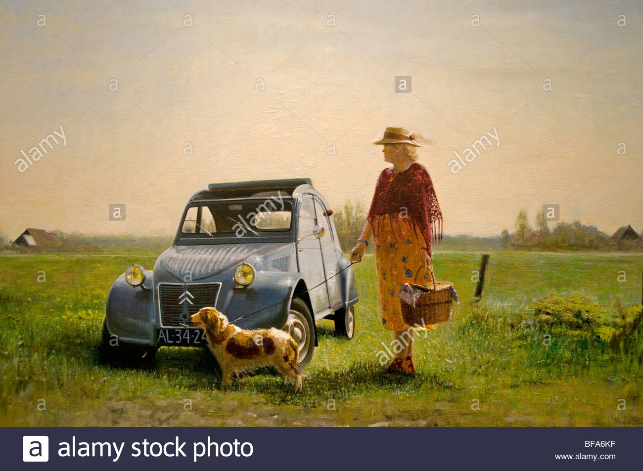 martin sijbesma 2 cv citroen woman dog art gallery amsterdam stock photo  royalty free image