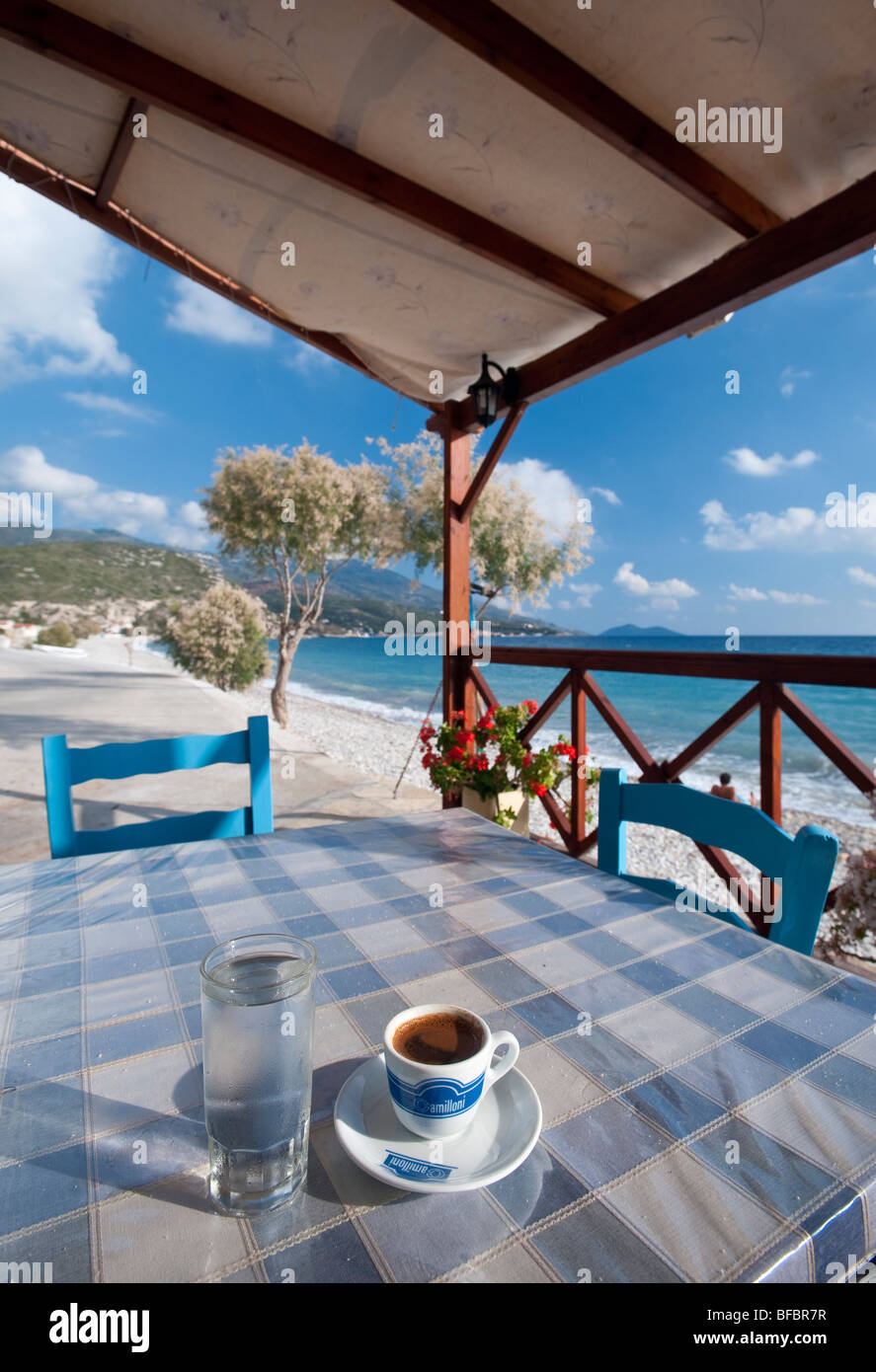 Greek coffee and glas full of water on a table in a tavern on a greek coffee and glas full of water on a table in a tavern on a secluded and serene beach in greece geotapseo Gallery
