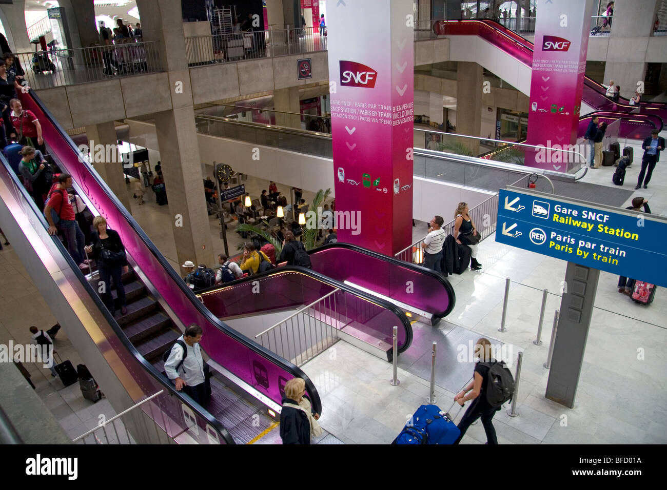 escalator and rer train station located in the paris charles de stock photo royalty free image. Black Bedroom Furniture Sets. Home Design Ideas