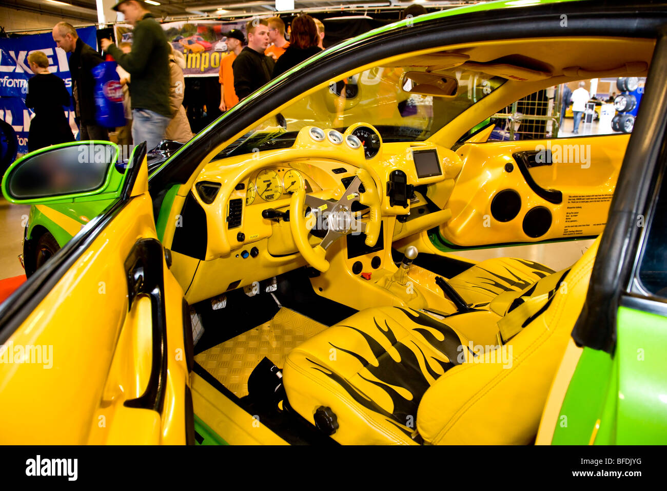 Stock photo yellow and black interior in a custom styled car at scandinavian custom show in bella centret copenhagen
