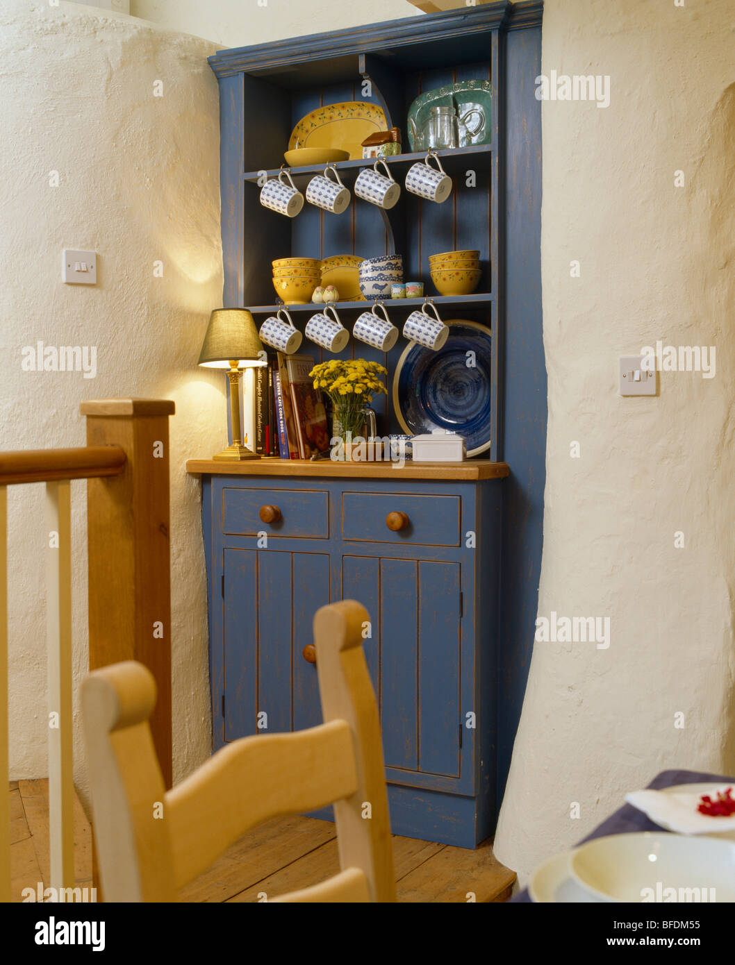 Small Blue Dresser In Alcove Cottage Dining Room