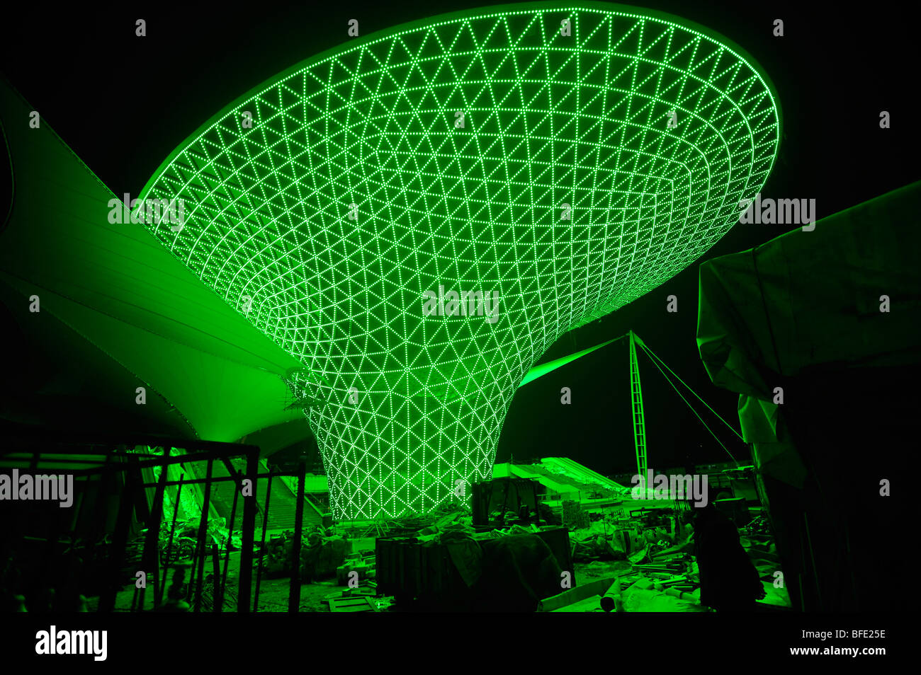 Lights being tested at the pavilion covering the main entrance for ...