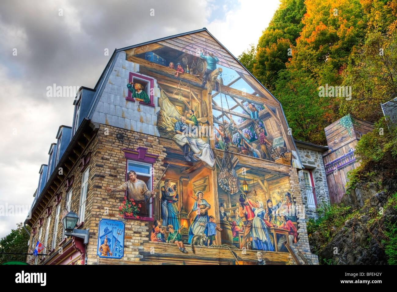 Mural rue petit champlain quebec city quebec canada for Mural quebec city