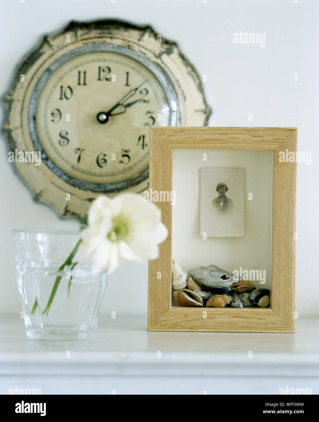Close-up of old clock on wall above wooden box frame with found objects beside glass with single white flower & Close-up of old clock on wall above wooden box frame with found ... Aboutintivar.Com
