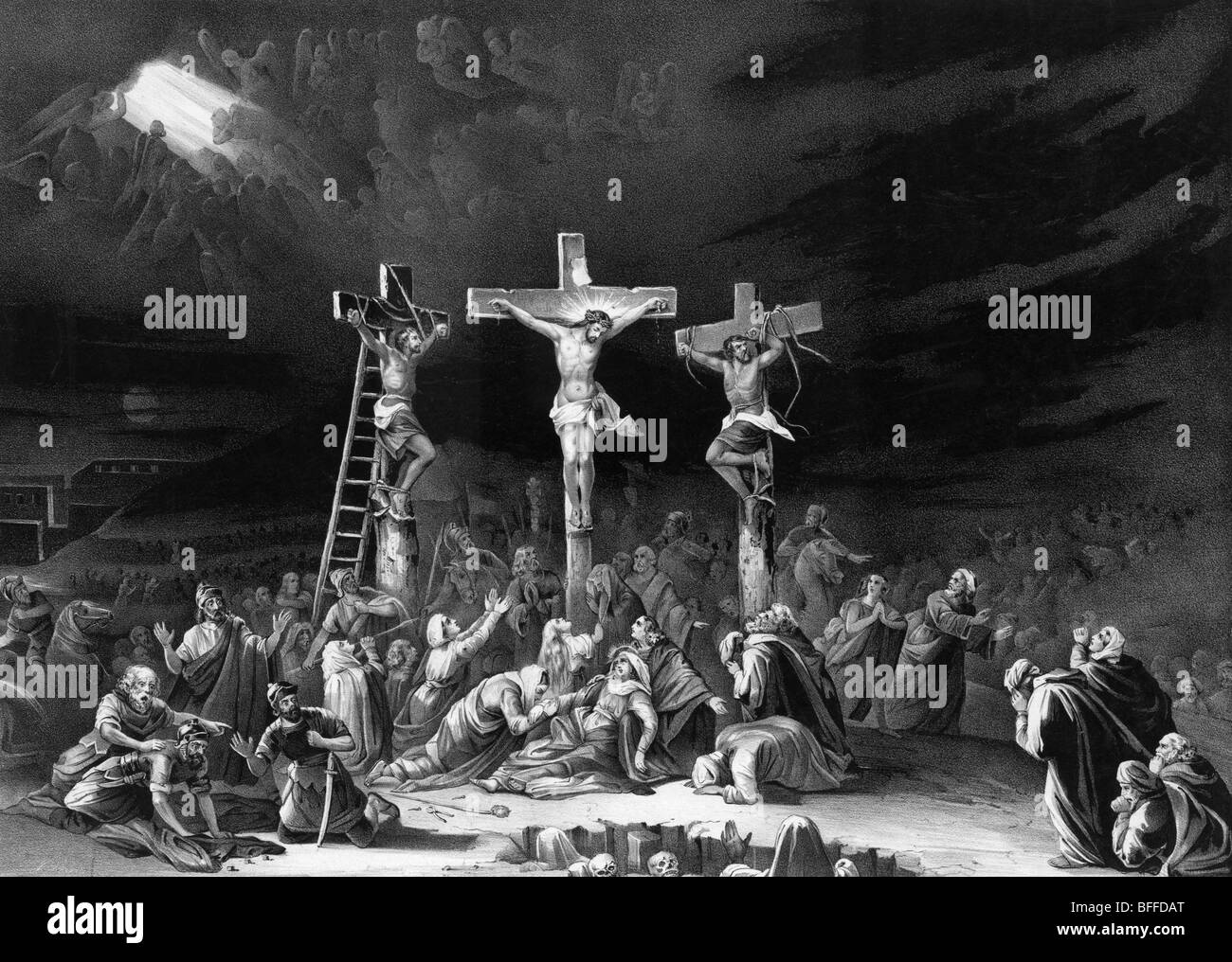 print depicting the crucifixion of jesus christ at golgotha