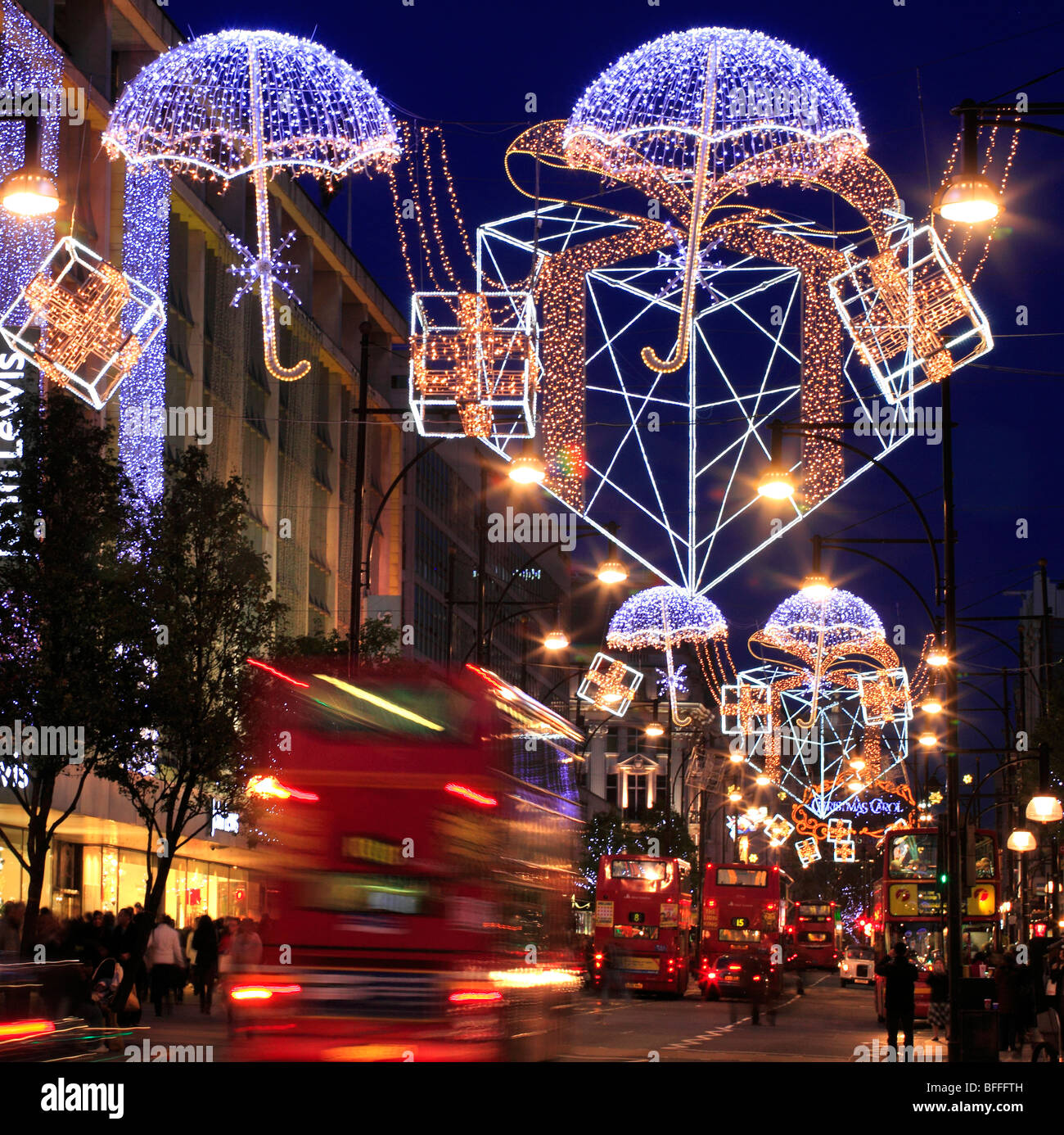 Colourful Christmas Decorations In Oxford Street London