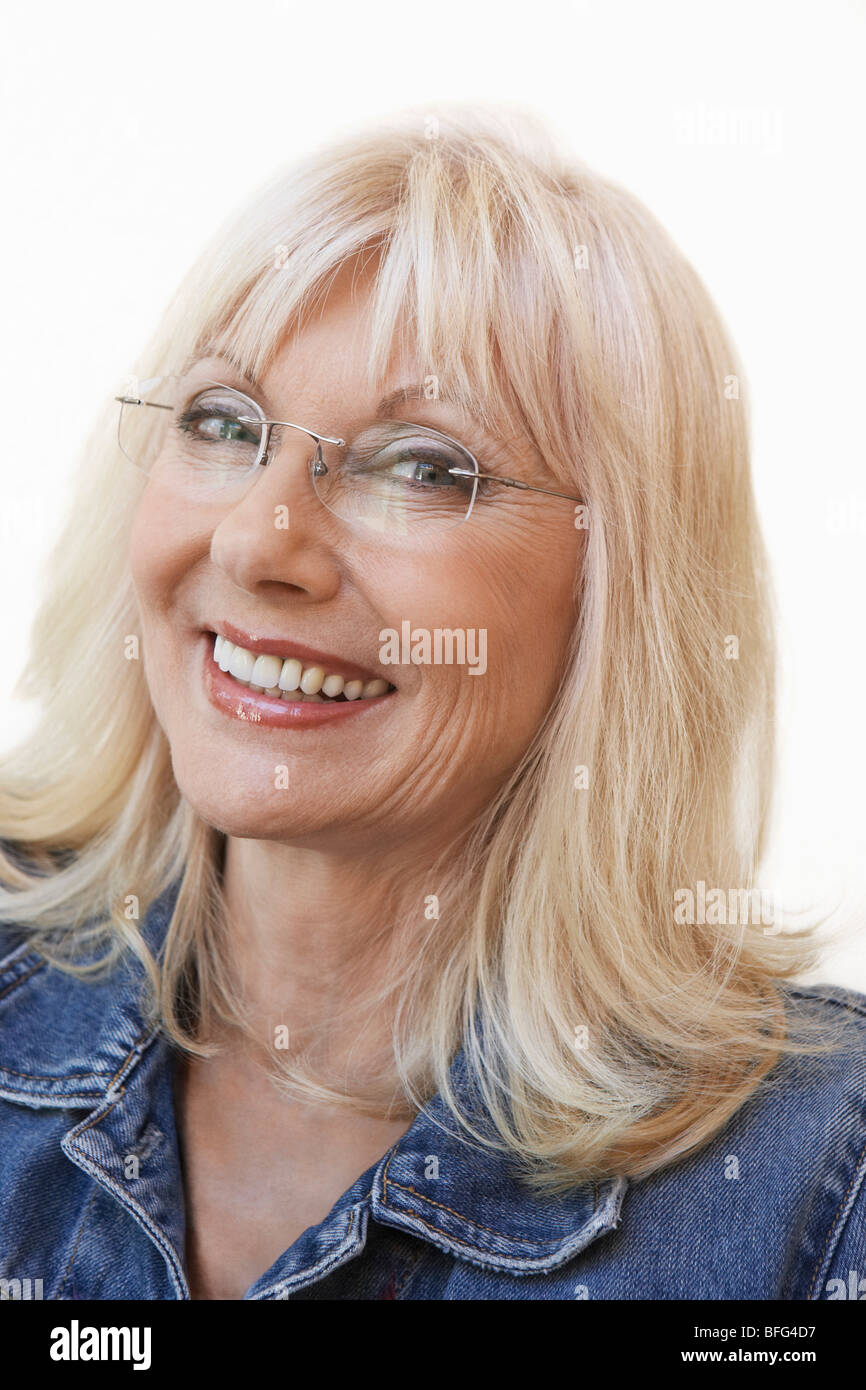 Middle Aged Woman Wearing Glasses Portrait Stock Photo