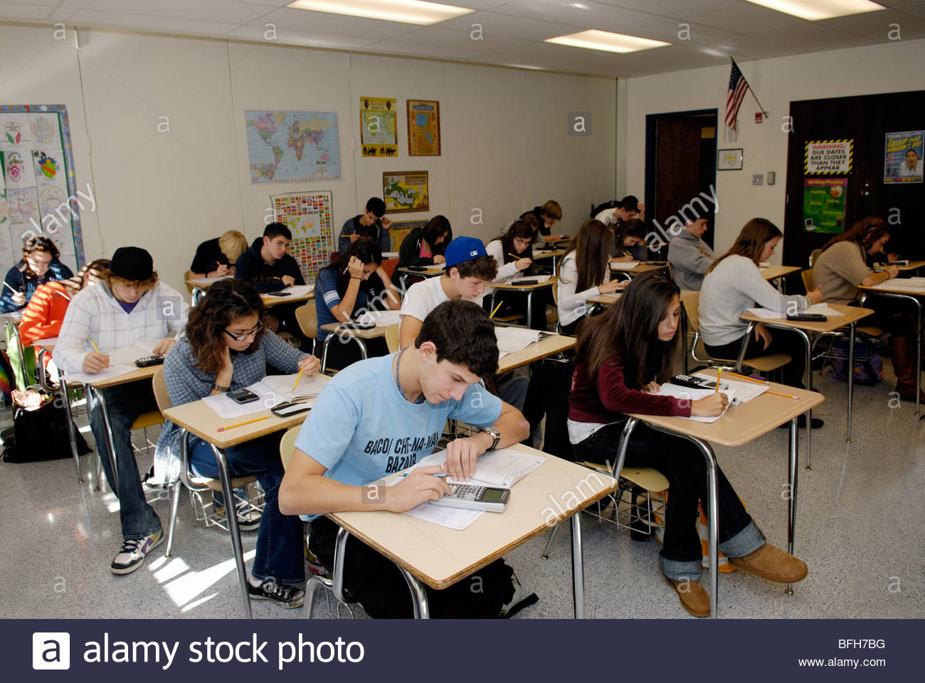 students in high school classroom taking a standardized