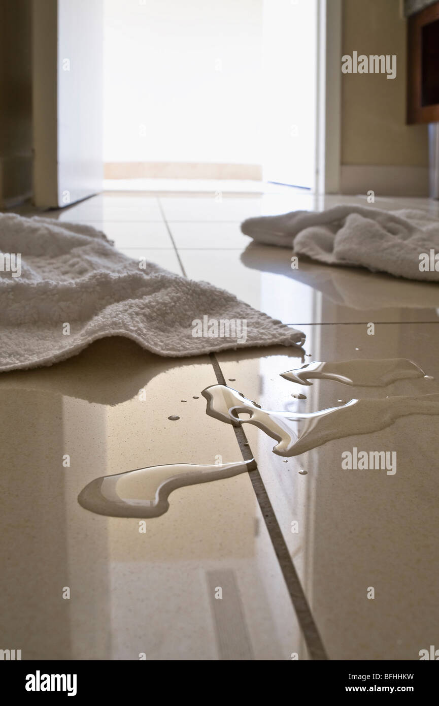 Bathroom floor towels - Stock Photo Water Puddles Towels On Bathroom Floor