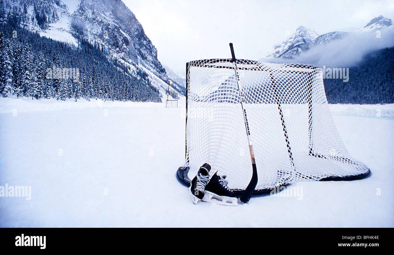 Hockey net on ice