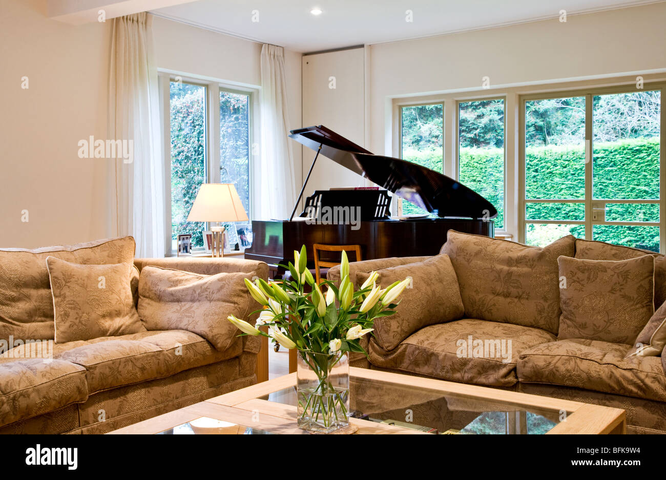 A smart modern stylish lounge, living or sitting room with a baby grand  piano and vase of lilies