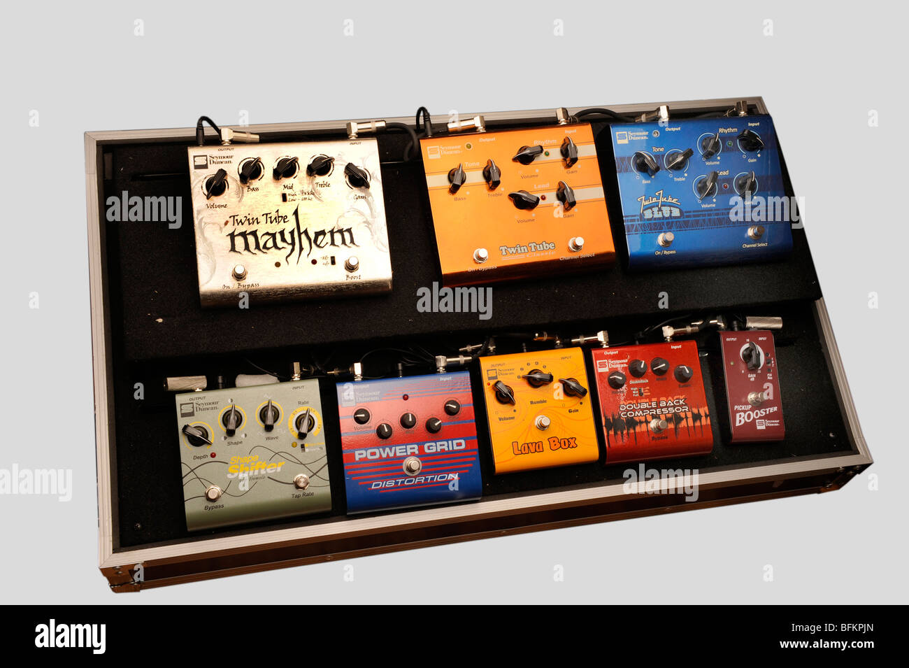 electric guitar effects pedal board stock photo royalty free image 26865069 alamy. Black Bedroom Furniture Sets. Home Design Ideas
