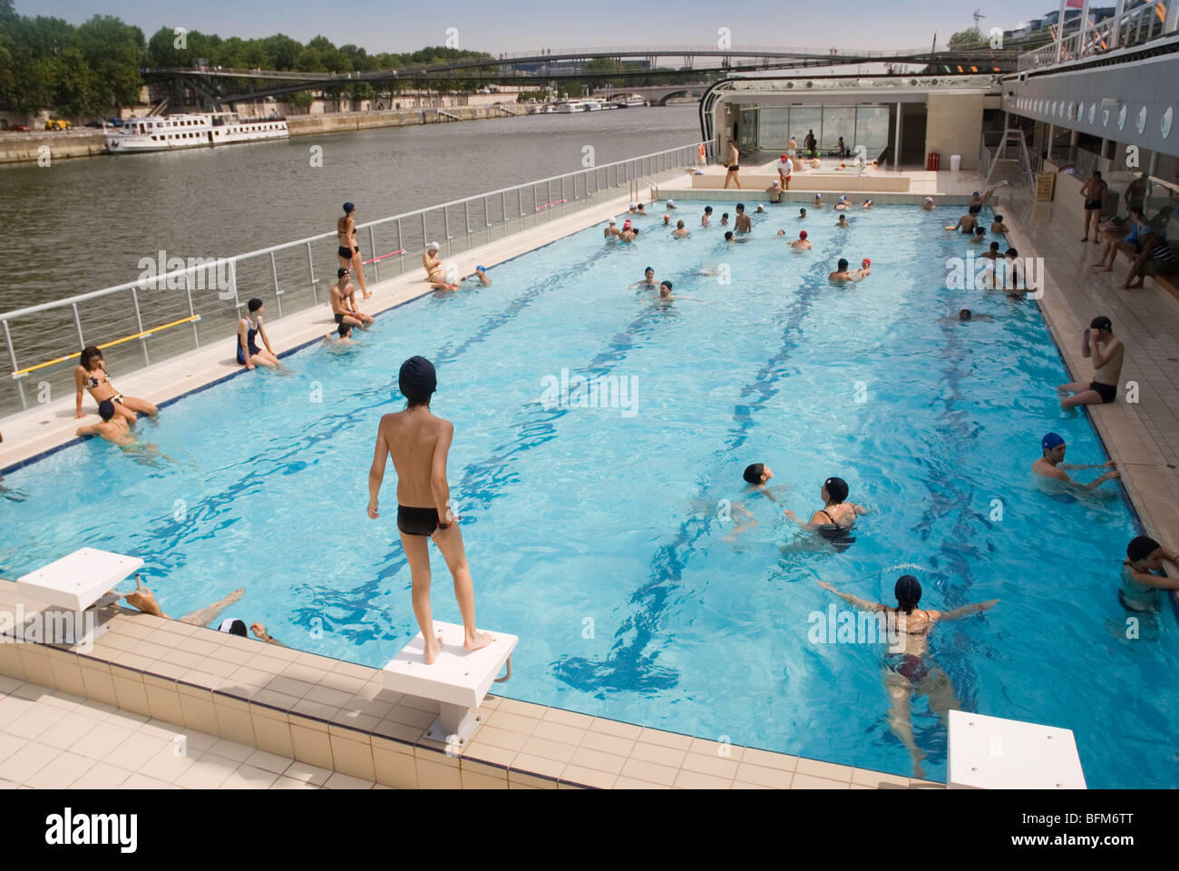 Piscine Josephine Baker Floating Swimming Pool In The Seine Paris Stock Photo Royalty Free