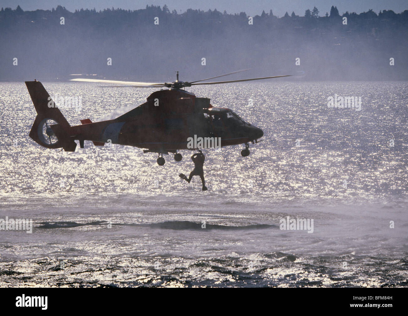 A United States Coast Guard Uscg Rescue Swimmer Being Lifted From ...