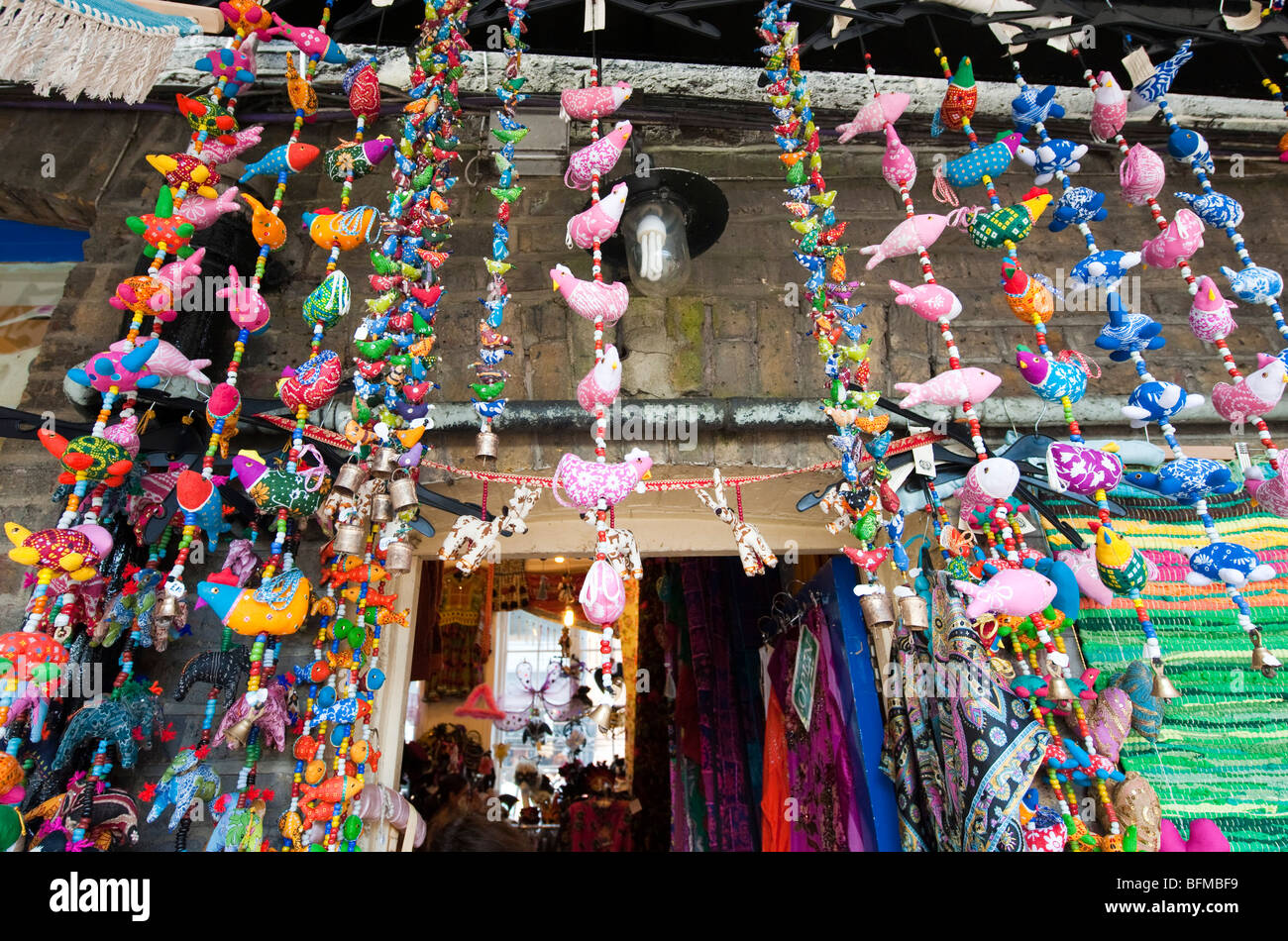 Indian decorations hanging outside a shop in Camden Market, London ... for Indian Hanging Decorations  557ylc