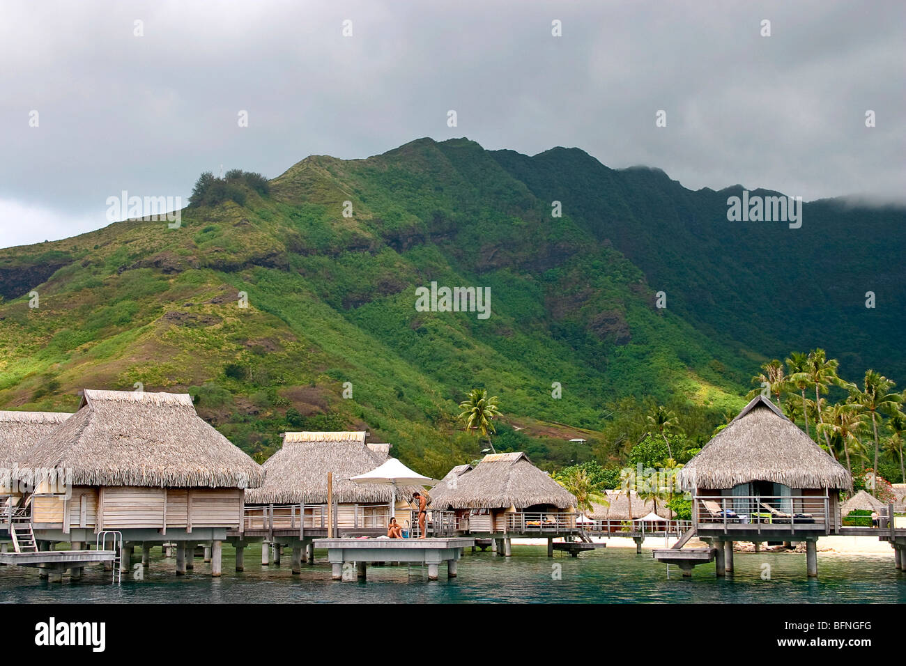 Palm Thatch Cabins Over The Water, Moorea Pearl Resort, Moorea, Tahiti
