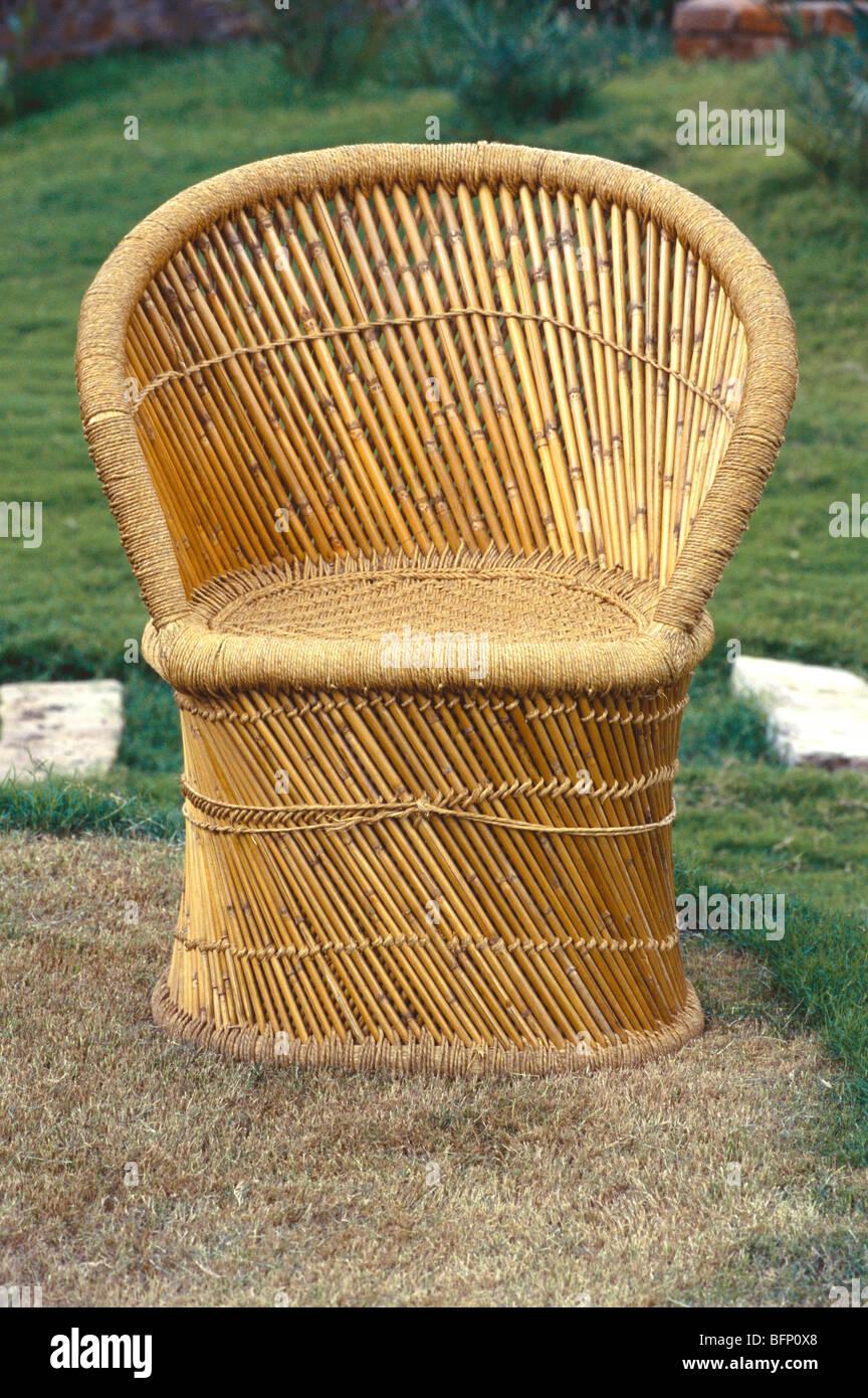 cane chair at garden handicraft gujarat india stock image