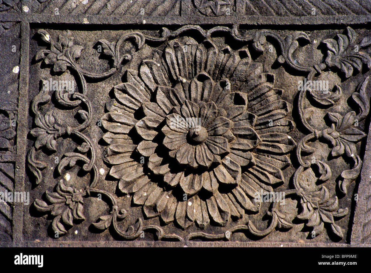 Mmn flowers stone carving at lord shiva temple