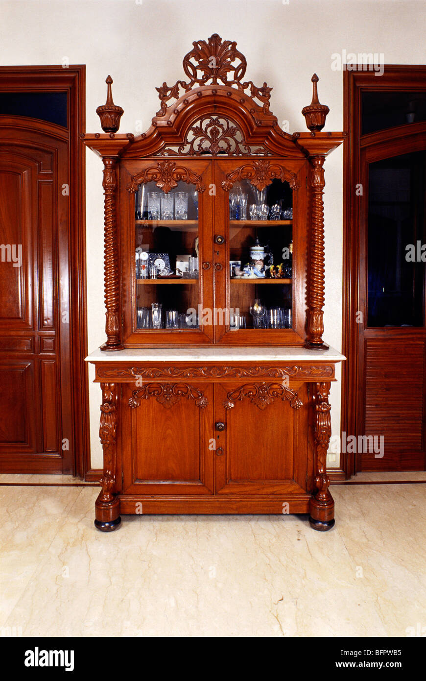 Hma 66470 Teak Wood Showcase Arrangement Living Room India Stock Photo Royalty Free Image