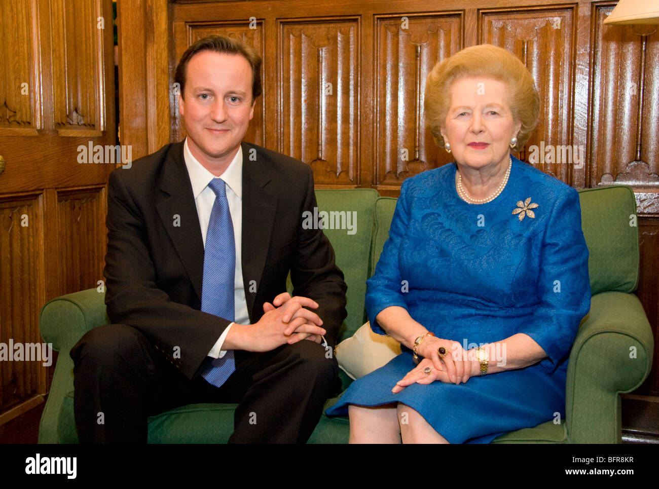 David Cameron and Lady Thatcher visiting the Shadow Cabinet Room ...