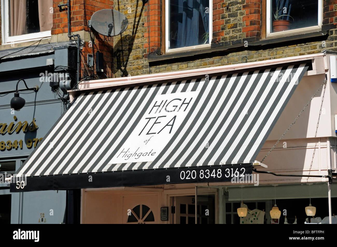 Awning Over High Tea Of Highgate Cafe In Village London England UK