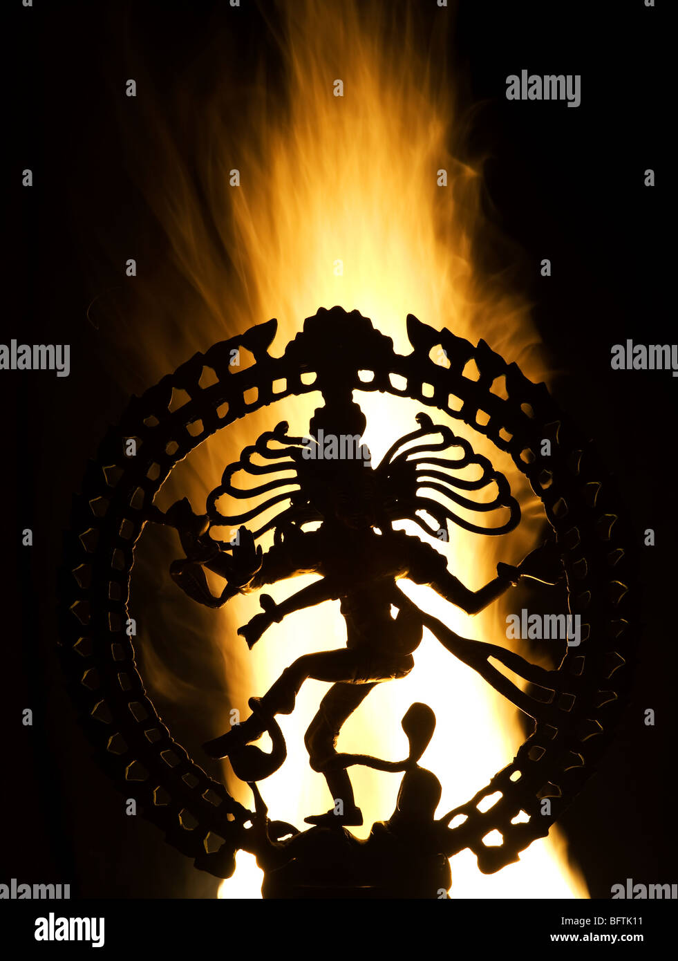 dancing lord shiva statue nataraja in front of fire