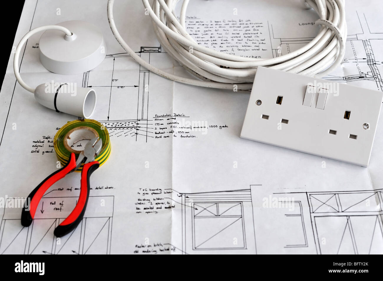 electrical plans for new homes. Blueprint plans of home building and construction with electrical items