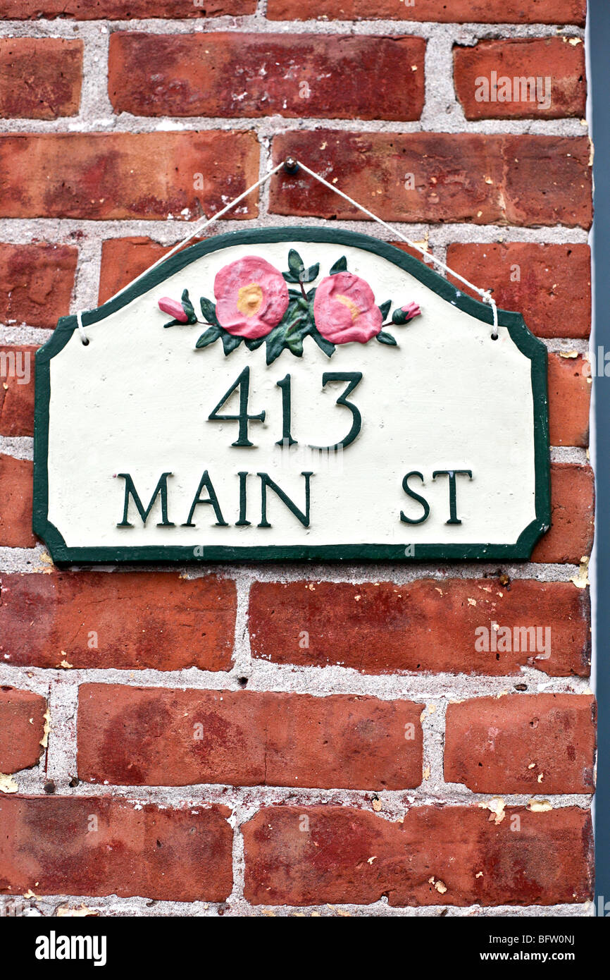 Charming Hanging Green & White Metal House Number Sign With Pink Wild Roses  On An Old