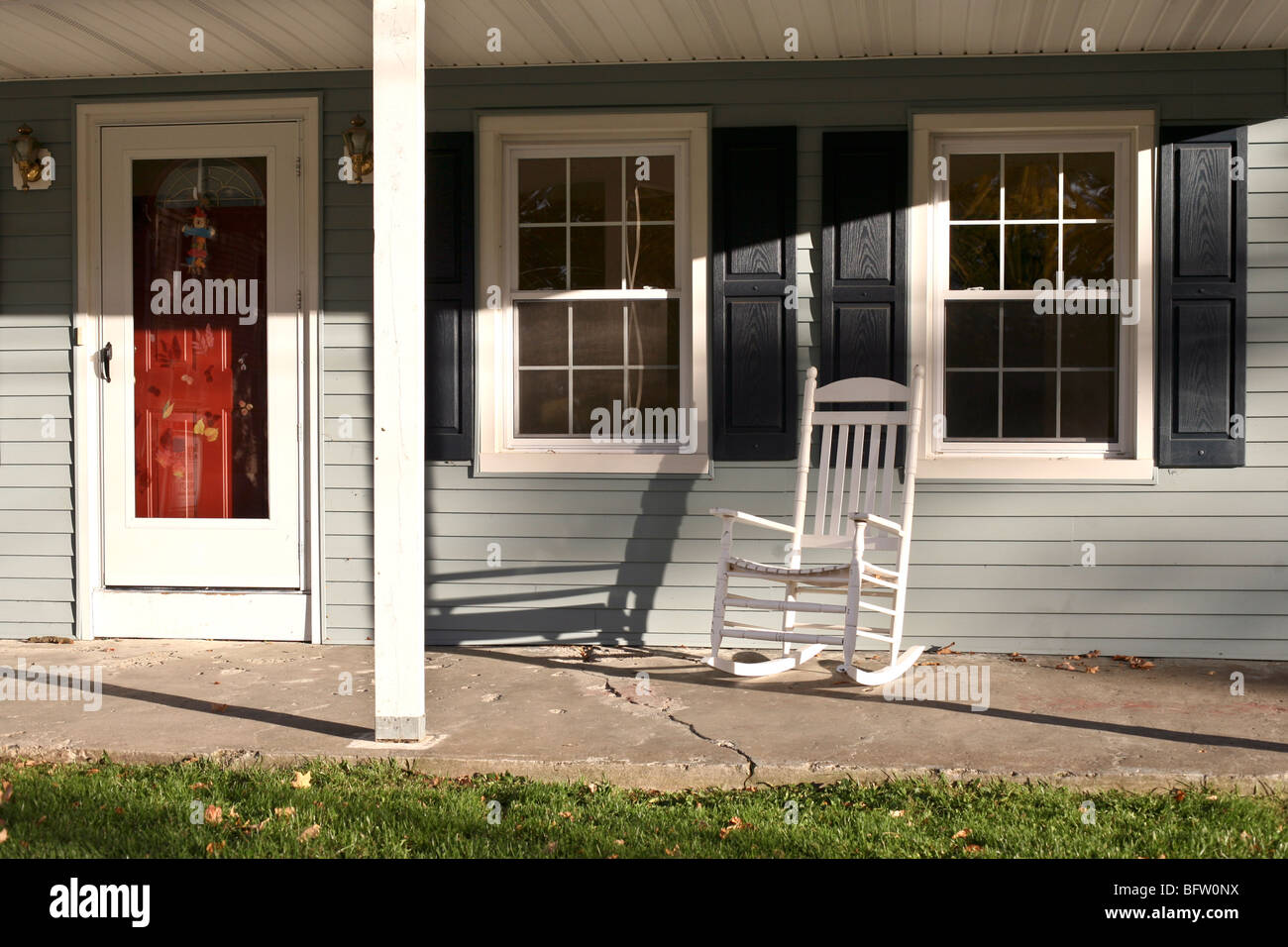 Red Entry Door Charming Front Porch With White Wood Rocking Chair Old Gray Clapboard House On Autumn Day Montgomery New York