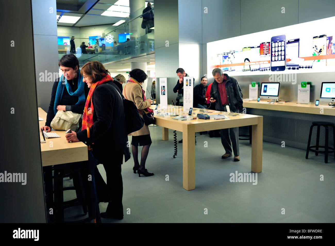 Paris France French Shopping Center General View Inside Apple Store People Looking At I Phones Pods