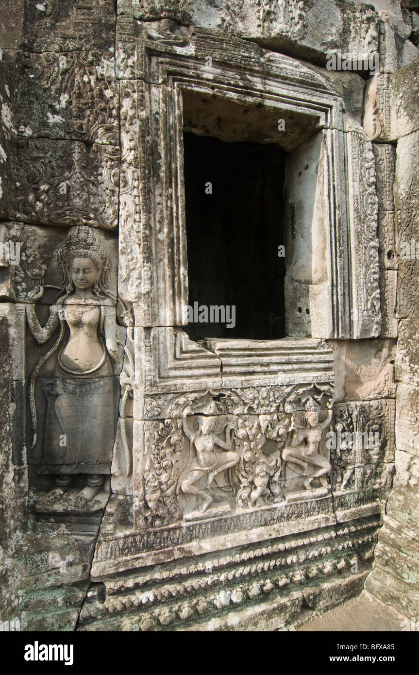 Bas relief carvings on the bayon temple at angkor wat in