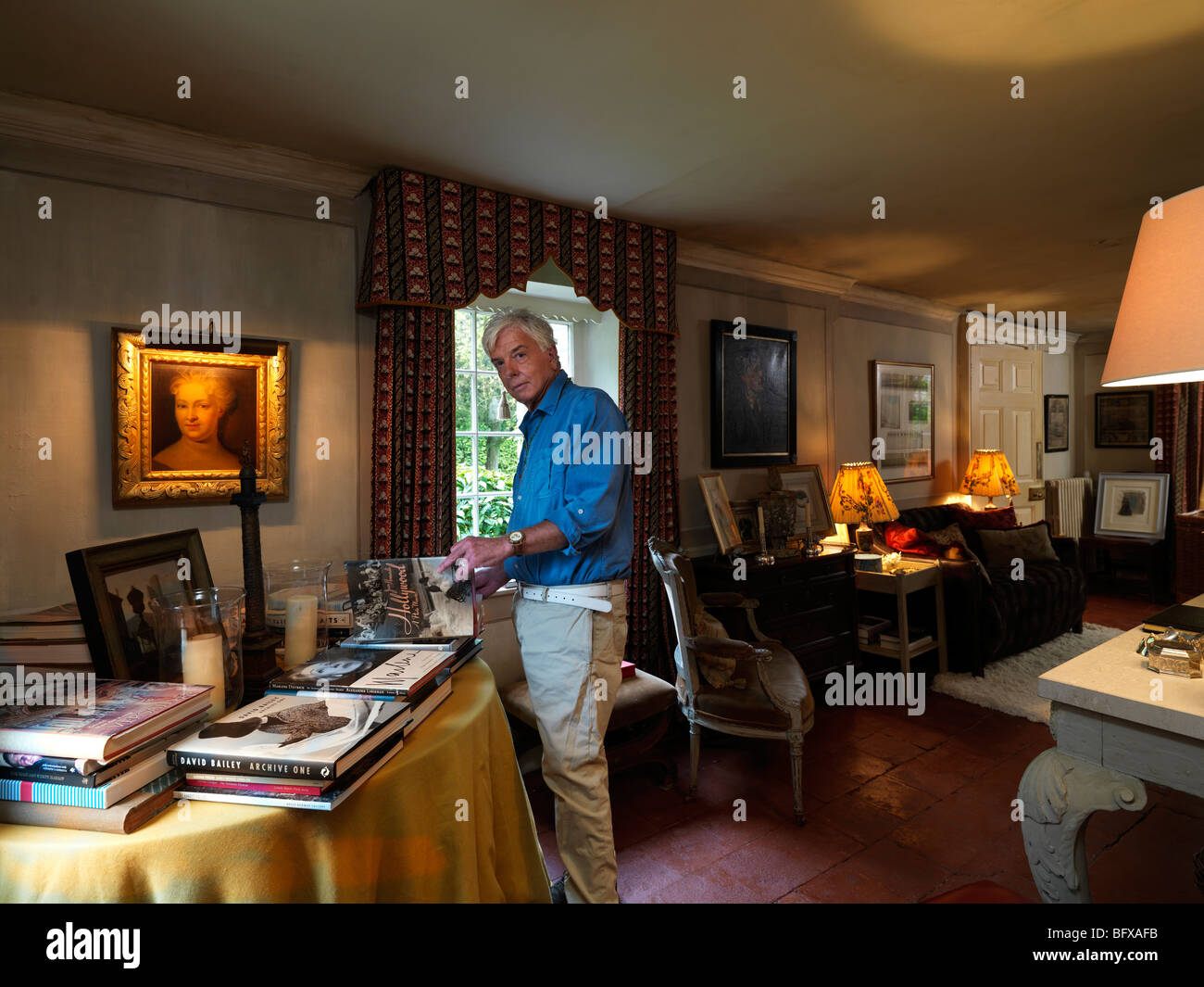 British Interior Designer Nicky Haslam Pictured In His Hampshire Home