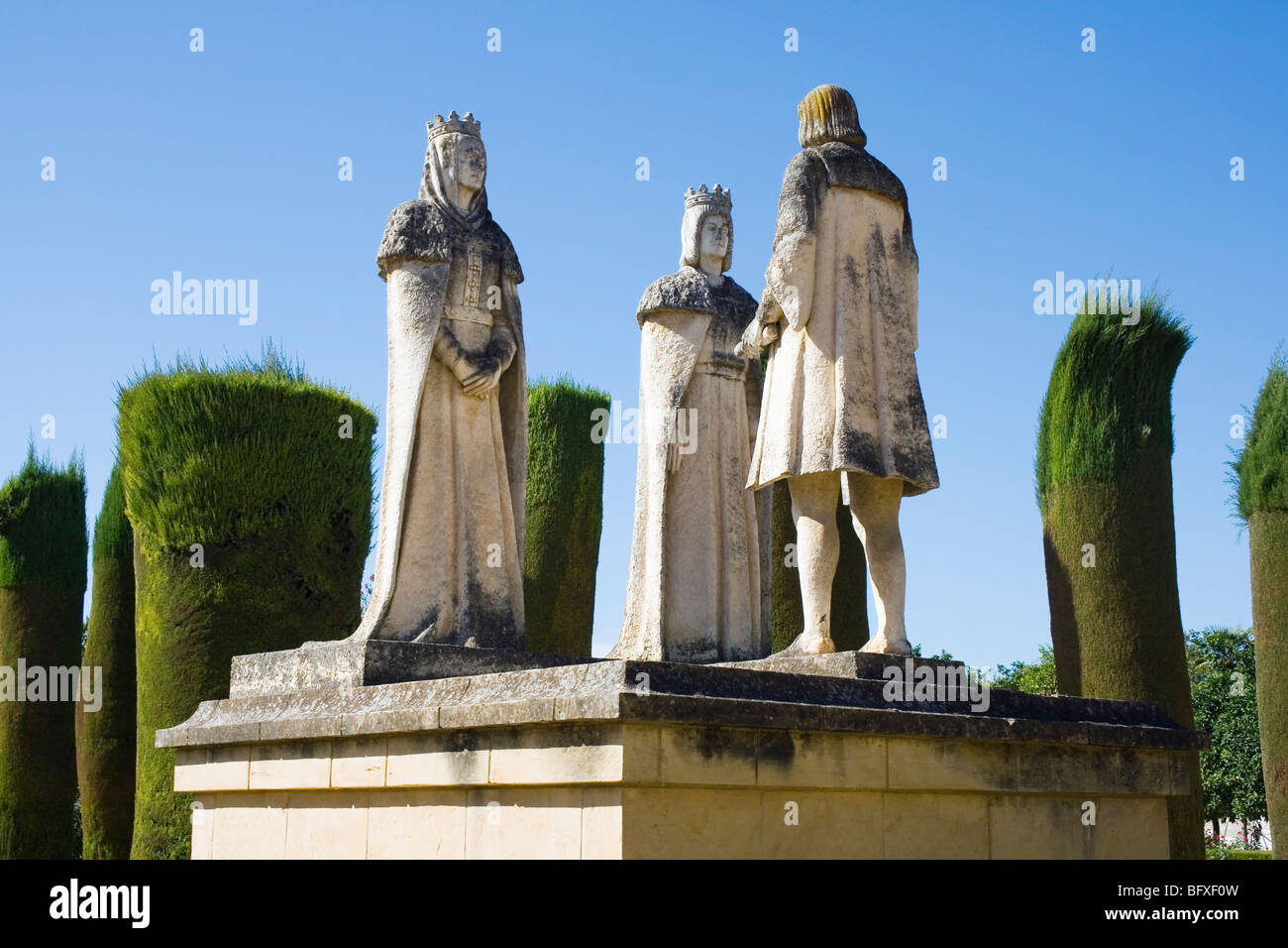 Statues of Christopher Columbus, King Ferdinand II of Aragon and Queen Isabella I of Castile in the gardens of the Alcazar