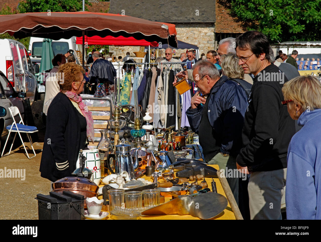 vide grenier at la ferriere aux etangs in the orne 61 departement stock photo royalty free. Black Bedroom Furniture Sets. Home Design Ideas