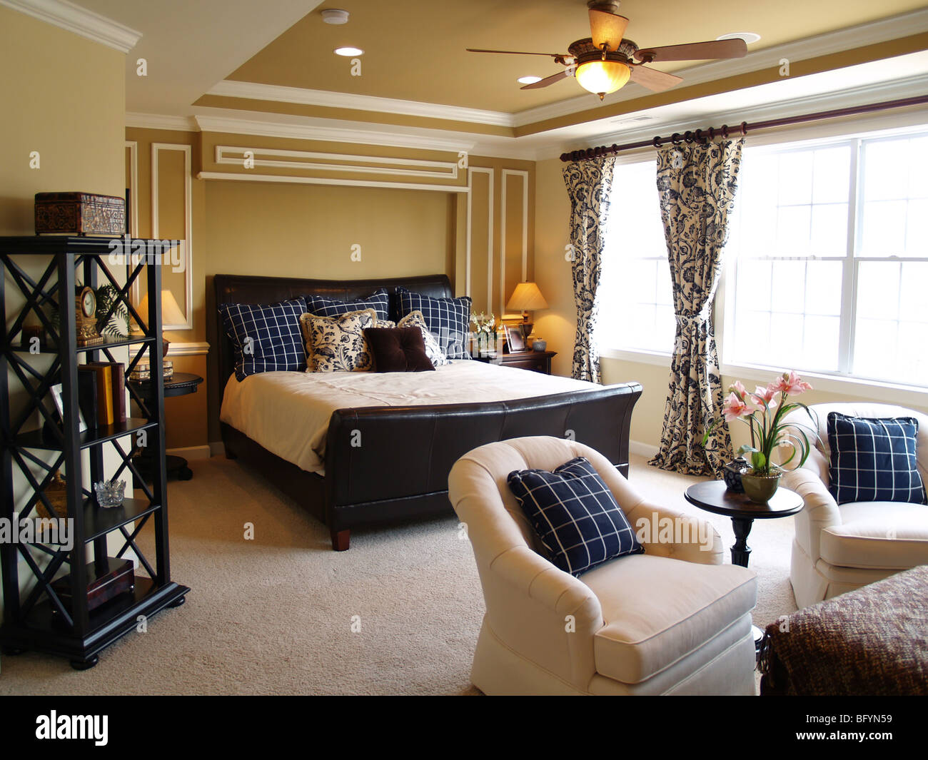 Nicely Decorated Bedrooms Nicely Decorated Master Bedroom In A Newly Built Luxury Home Stock