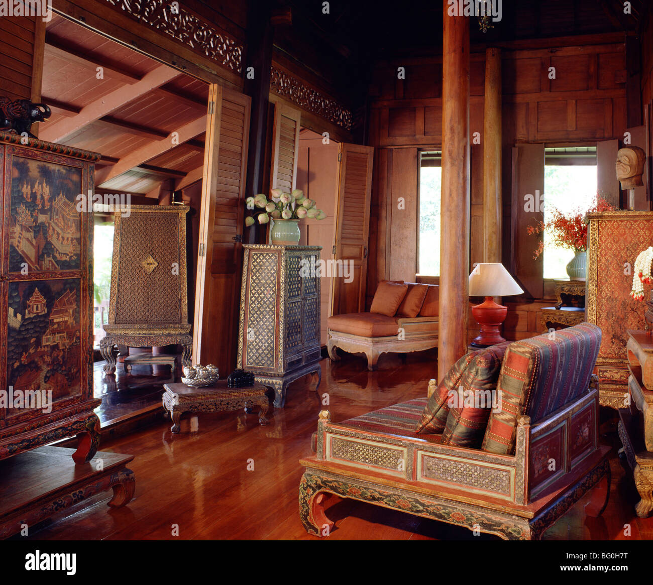 Traditional thai house with old manuscript cabinet table for Thailand home decor