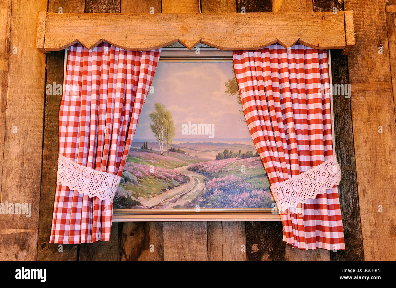 Red gingham curtains - Painting Behind Red Gingham Curtains