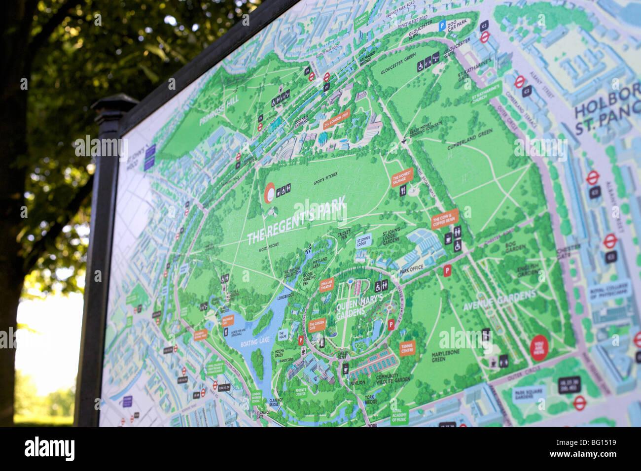 Park Map Regents Park London England United Kingdom Europe - London map in europe