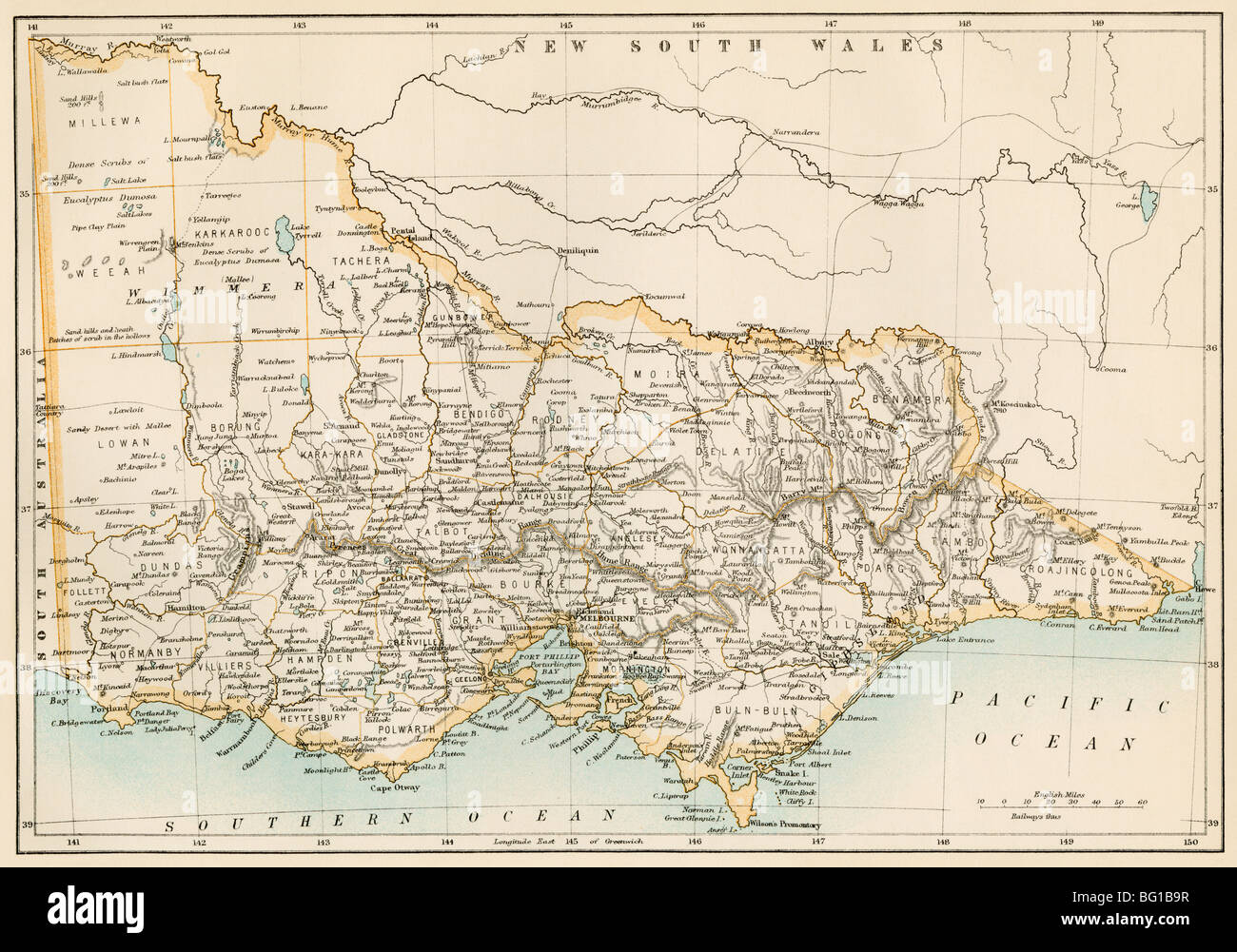 Map Of Victoria Australia 1870s Photo Royalty Free Image – Map Victoria Australia