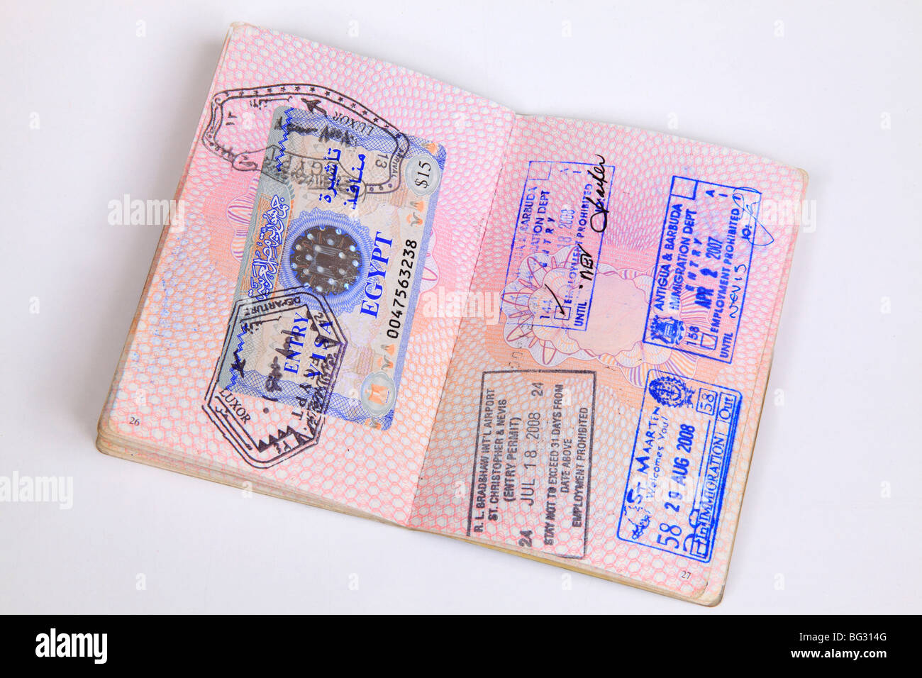 UK Passport pages with destination stamps from different ...