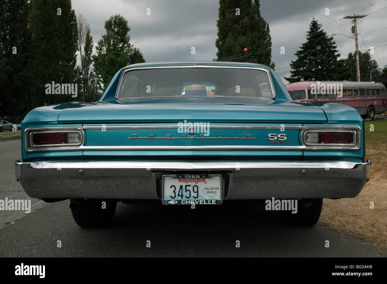 Rier view of a 1966 chevelle ss 396 on show at the north west muscle car