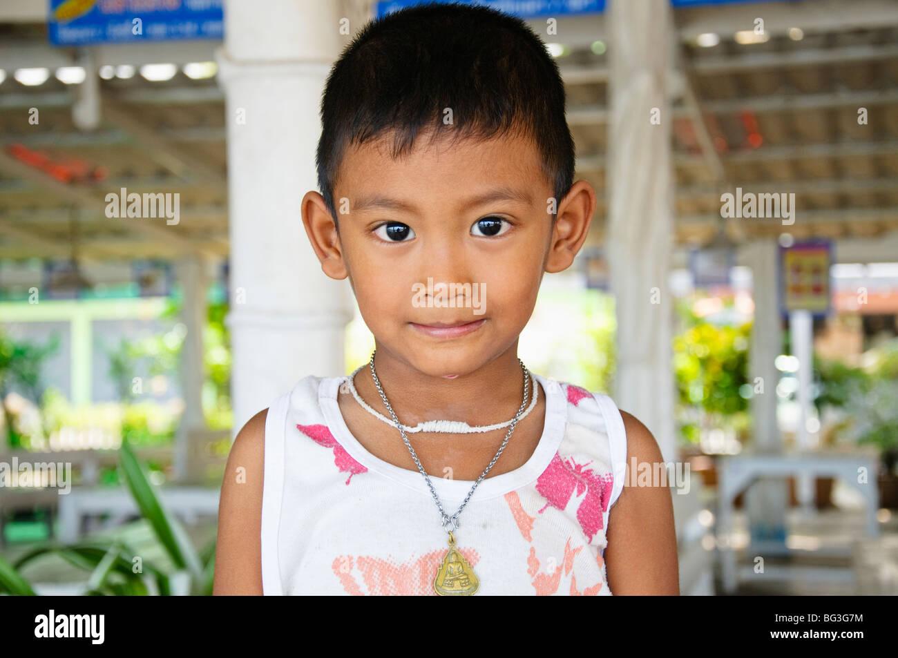 thai child boy child age 5-6 thailand asian thai - Stock Image