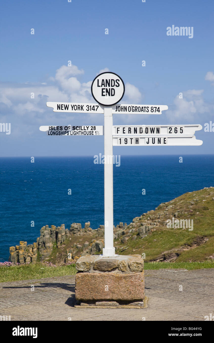 England Cornwall Lands End The Lands End Signpost Stock