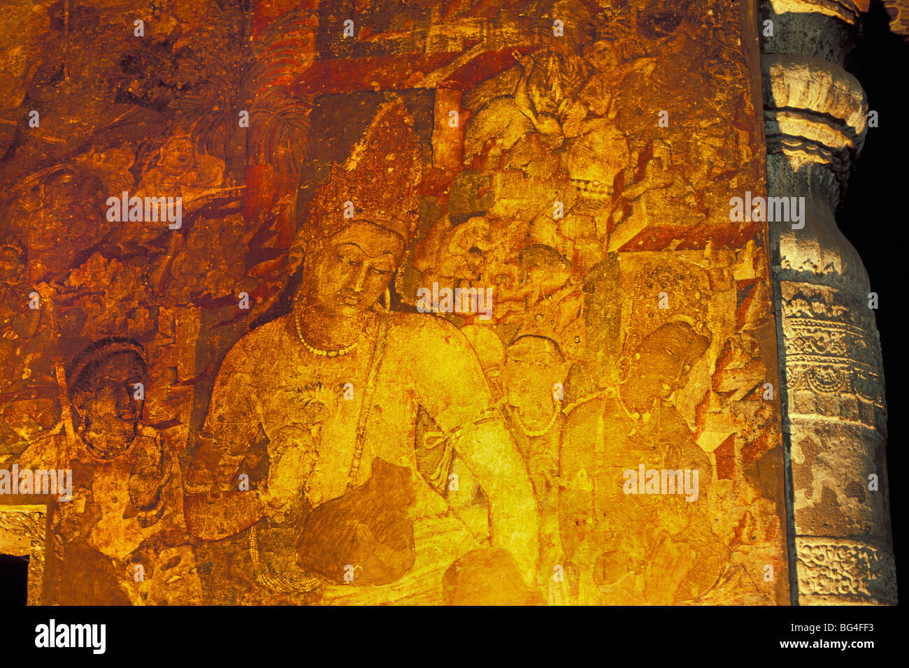 Mural painting in cave at buddhist cave site of ajanta for Ajanta mural painting