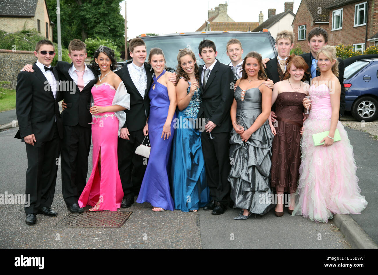 British Teenage Boys And Girls Going To Their School Prom