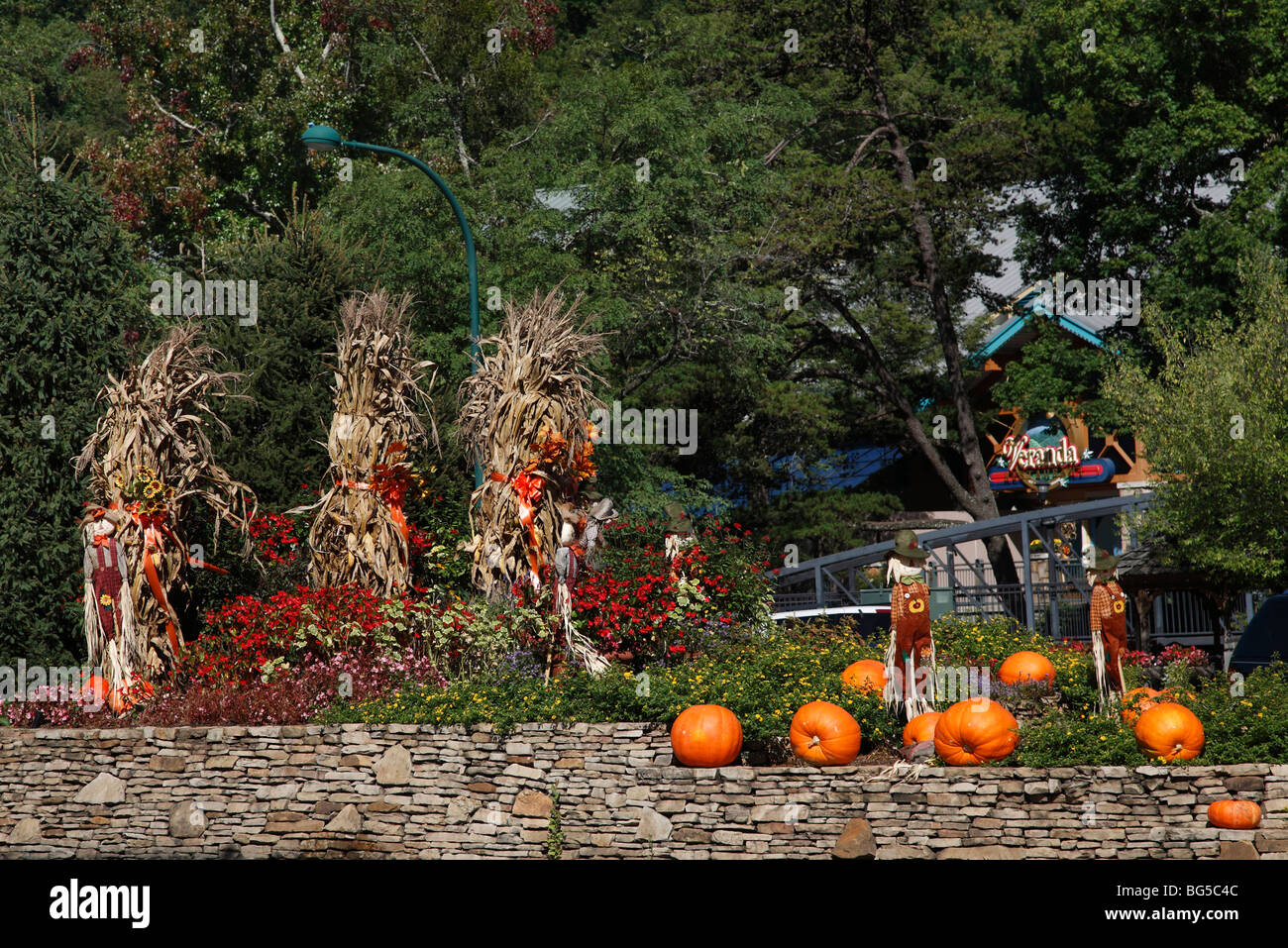 halloween decorations in gatlinburg tennessee usa on street outside outdoor