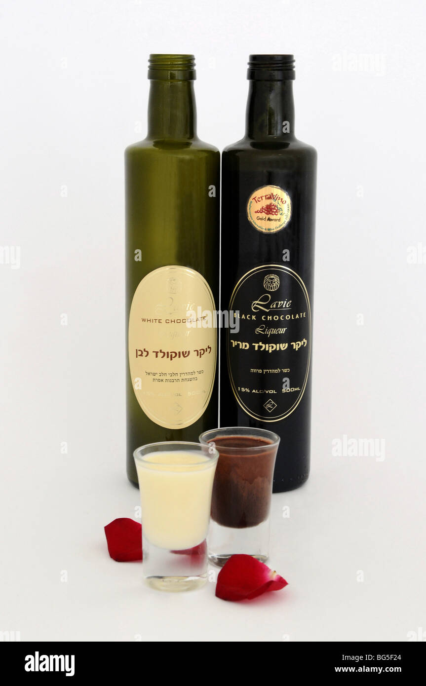 Bottles and glasses with Israeli made chocolate liquor Stock Photo ...