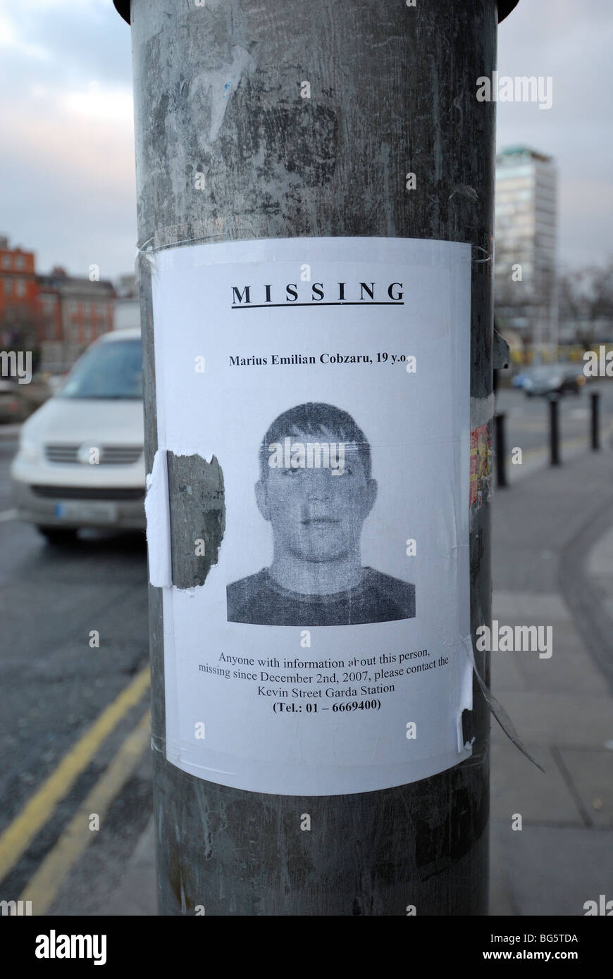 Missing Person Poster On Lamp Post In Dublin Ireland Stock Photo Missing  Person Poster On Lamp Post In Dublin Ireland BG5TDA Stock Photo Missing  Person ...  Missing People Posters