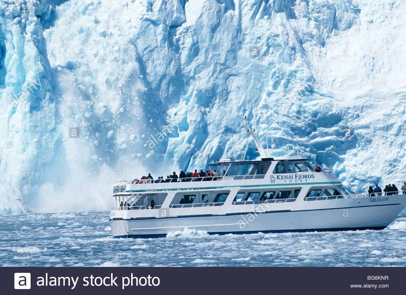 Alaska Seward Holgate Glacier With Kenai Fjords Tour Boat Stock - Alaska tour