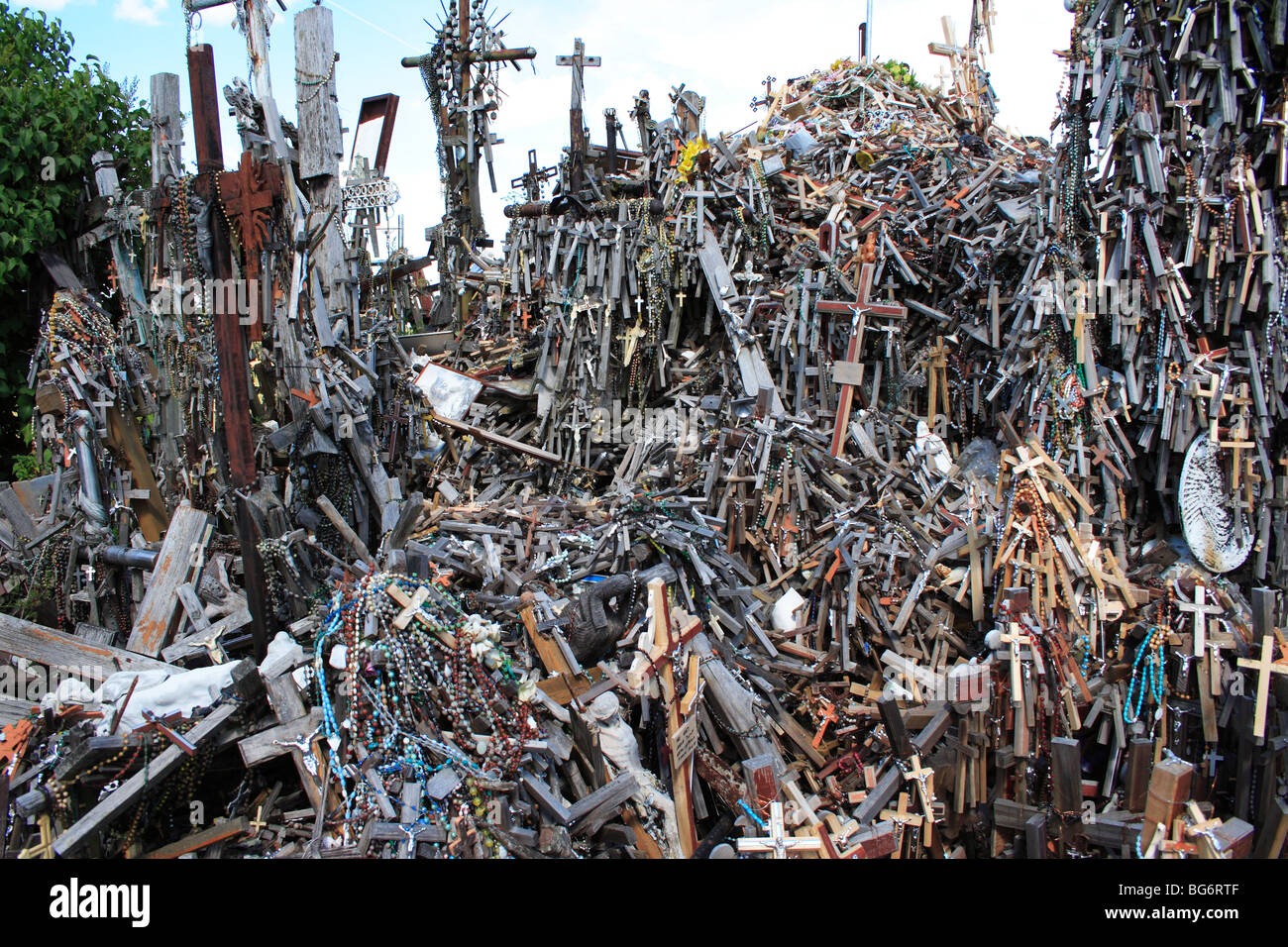 thousands of crosses on the hill of crosses near siauliai city